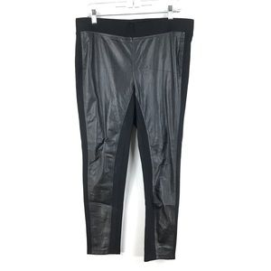 Ann Taylor Faux Leather Front Black Ponte Leggings